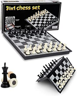 PALIATER Chess Set,Magnetic Chess Set,10.6x10.6 Inch Ttravel Chess Board Set 3 in 1 Chess Set with Chess Checkers and Back...