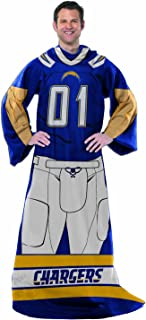 San Diego Chargers Comfy Throw Blanket With Sleeves - Player Design