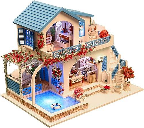 Momola Puppenhaus Holz,DIY Miniatur Loft Dollhouse Kit,Blau and Weiß Town Puzzle Dekorieren Kreative Holzhaus Zimmer Spielzeug mit M l LED-Leuchten Geburtstagsgeschenk 29x20.5x23cm