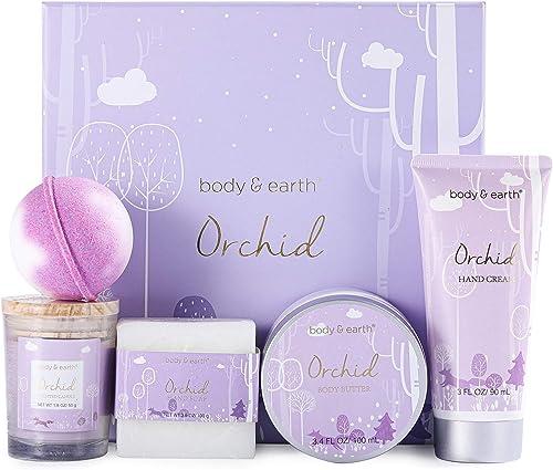 Coffret de Bain pour Femme, Body&Earth 6 PCS Coffret Cadeau au Parfum d'Orchidée, avec Beurre Corporel,Crème pour les...