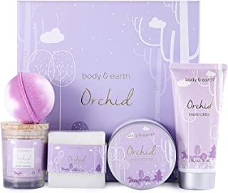 Experiencia de Spa en Una Caja - Set de Baño y Ducha Lujoso de 5 Piezas a Orquídeas Incluye Vela Perfumada Manteca Corpo...
