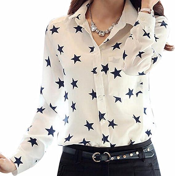 QIYUN.Z La Gasa De Las Mujeres Encabeza Estrellas Negro Solapa De Manga Larga Impresa Camisas OL Blusa Blanca