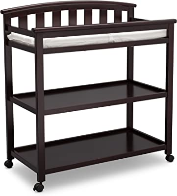 Delta Children Arch Top Changing Table with Wheels and Changing Pad, Dark Chocolate