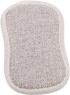 MARUIKAO 1PCS 台所精練パッド 二重側面のスポンジ 皿スクラバーブラシ ノンスティックパン ポット 泡立ち 水切れよい 調理器具洗い ベージュ