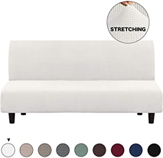Turquoize Futon Slipcovers for Furniture Sofa Cover, Ivory Spandex Slipcover/Lounge Cover, Stretch Anti-Wrinkle Slip Resistant Form Fit Slipcover 3 Seater Sofa Cover (Futon, Ivory)