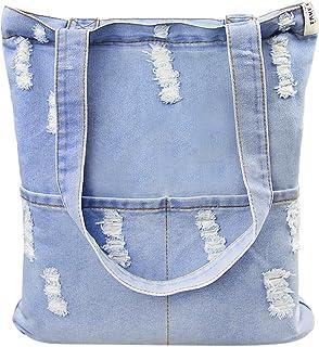 Damen Jeans Canvas Leinwand Umhängetasche Messenger Bag Handtasche Schultertasche Tasche Löcher Muster Hellblau & Dunkelblau