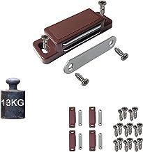 4 magnetische snappers, kastmagneet, houdkracht 13 kg, set van 4 met schroeven, bruin, deurmagneet, kastdeurmagneet, magne...