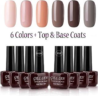 Gellen UV Gel Polish Set 6 Colors + Top Coat Base Coat, Cappuccino Coffee Caramel Series Home Gel Manicure Kit