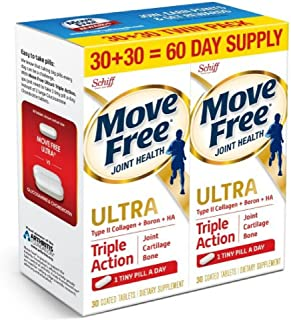 Move Free Schiff Type II Collagen, Boron & HA Ultra Triple Action Tablets 60 count in a value pack