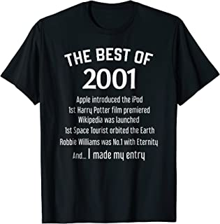 Funny Year 2001 Shirt 18 Years Old Shirt Gift for Boys Girls