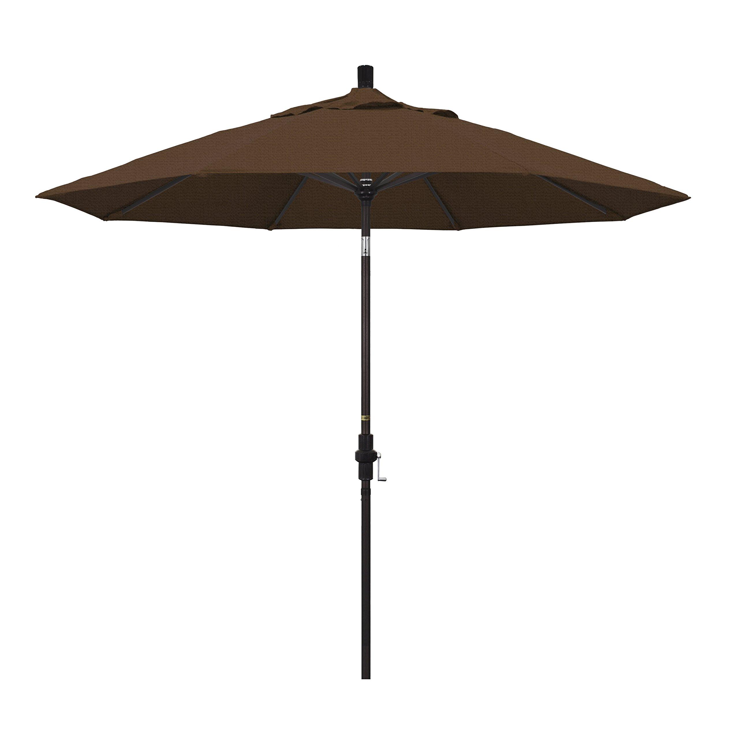 Amazon Com California Umbrella Gscu908117 F71 9 Round Aluminum Market Crank Lift Collar Tilt Bronze Pole Teak Olefin Patio Umbrella 9 Foot Patio Umbrellas Garden Outdoor