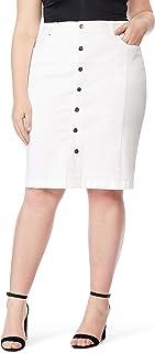 Beme Rebel Wilson High Rise Pencil Skirt White 24 - Womens Plus Size Curvy