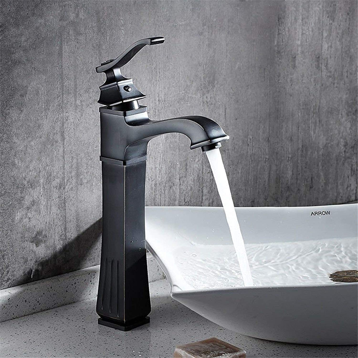 FERZA home Sink Mixer Tap Bathroom Kitchen Basin Water Tap Leakproof Save Water Basin-Copper Black Single Hole Retro Hot & Cold Water Square, Minimalist B (color   A)