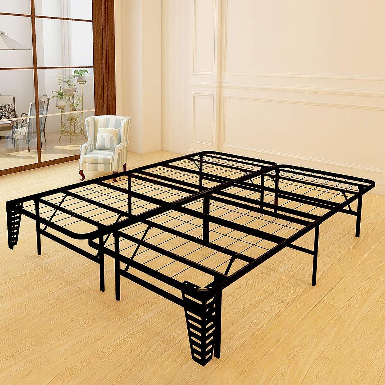 Foldable Bed Frame Metal Platform Base 14Inch Box Spring Replacement Mattress Foundation Heavy Duty Steel Slat, Black Queen (Queen+Brackets, Black)