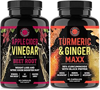 Apple Cider Vinegar + Beetroot and Turmeric & Ginger Capsules (2-Pack Bundle) by Angry Supplements, All-Natural Weight Loss Detox Remedy, Nitric Oxide Booster, Boost Metabolism + Energy (120 Count)