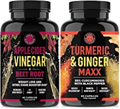 Apple Cider Vinegar + Beetroot and Turmeric & Ginger Capsules (2-Pack Bundle) by Angry Supplements, All-Natural Weight Los...
