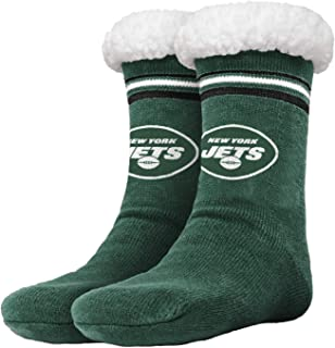 New York Jets Stripe Logo Tall Footy Slipper-Unisex