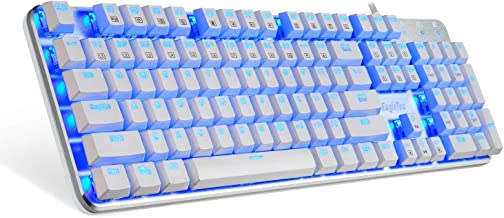 EagleTec KG051-BR Mechanical Gaming Keyboard, Low Profile, 104 Key Full Size with Cherry MX Brown Switches for PC Gamer (White Blue LED Backlit)