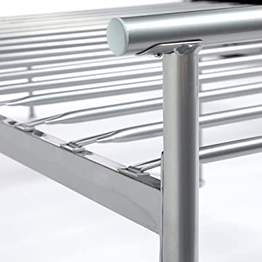 VonHaus Cadre de lit double en métal, facile à assembler, lit de rangement sous le lit, cadre de lit argenté