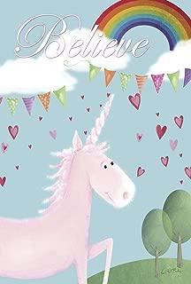 Toland Home Garden Believe In Unicorns 28 x 40 Inch Decorative Cute Mythical Rainbow Heart Unicorn House Flag