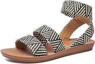 gracosy platta promenadsandaler för kvinnor sommar utomhus romersk stil vardagliga sandaler med ankelrem öppen tå halkskyd...