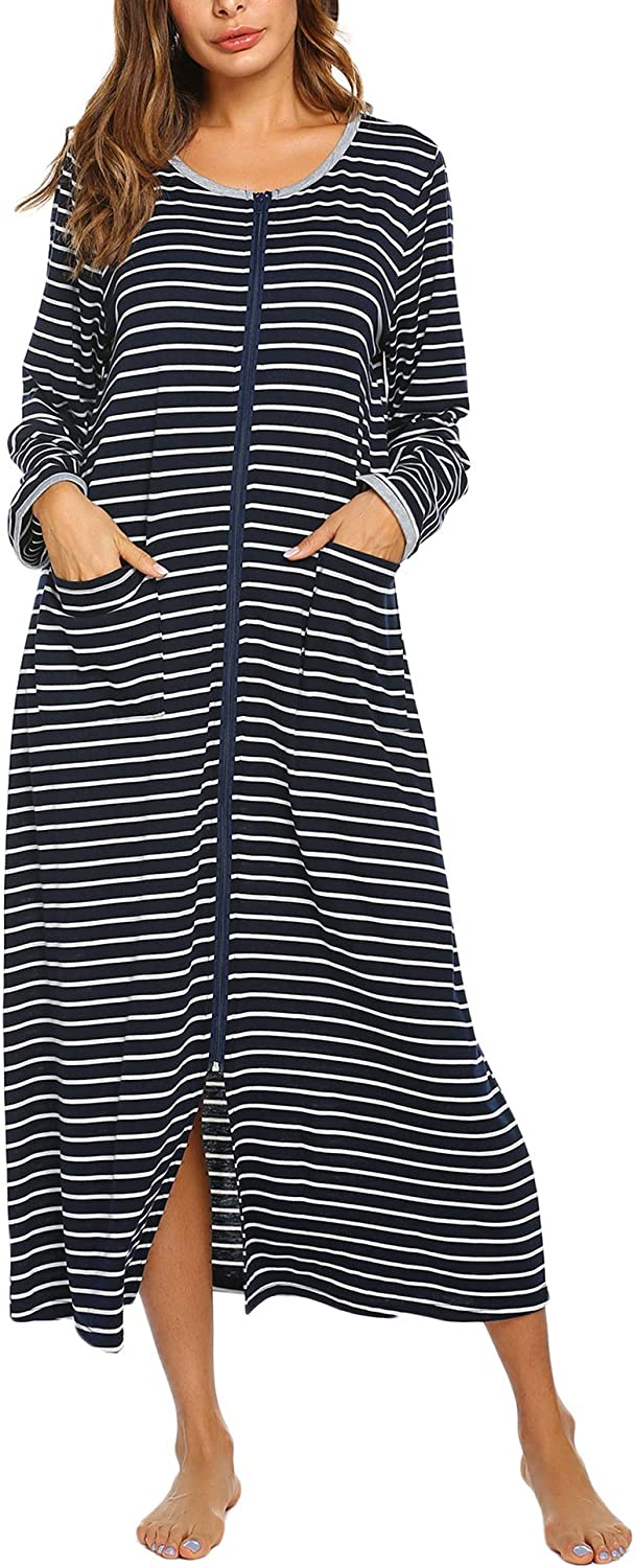 Evanhome Women Nightgown Zipper Front Robe Long Sleeve Striped House Coat Full Length Loungewear with 2 Pockets