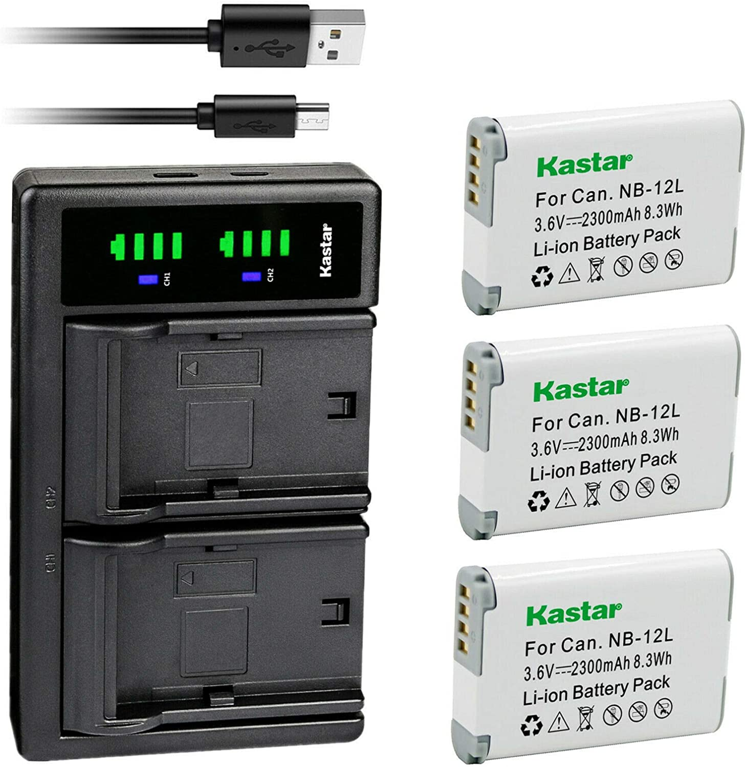 Kastar 3-Pack Battery and LTD2 Canon USB Charger for Ranking TOP16 gift Replacement