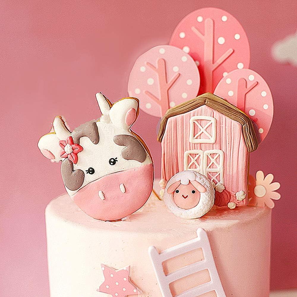 LaVenty Max 81% OFF 6 PCS Wholesale Pink Farm Birth Decoration Cake Animal