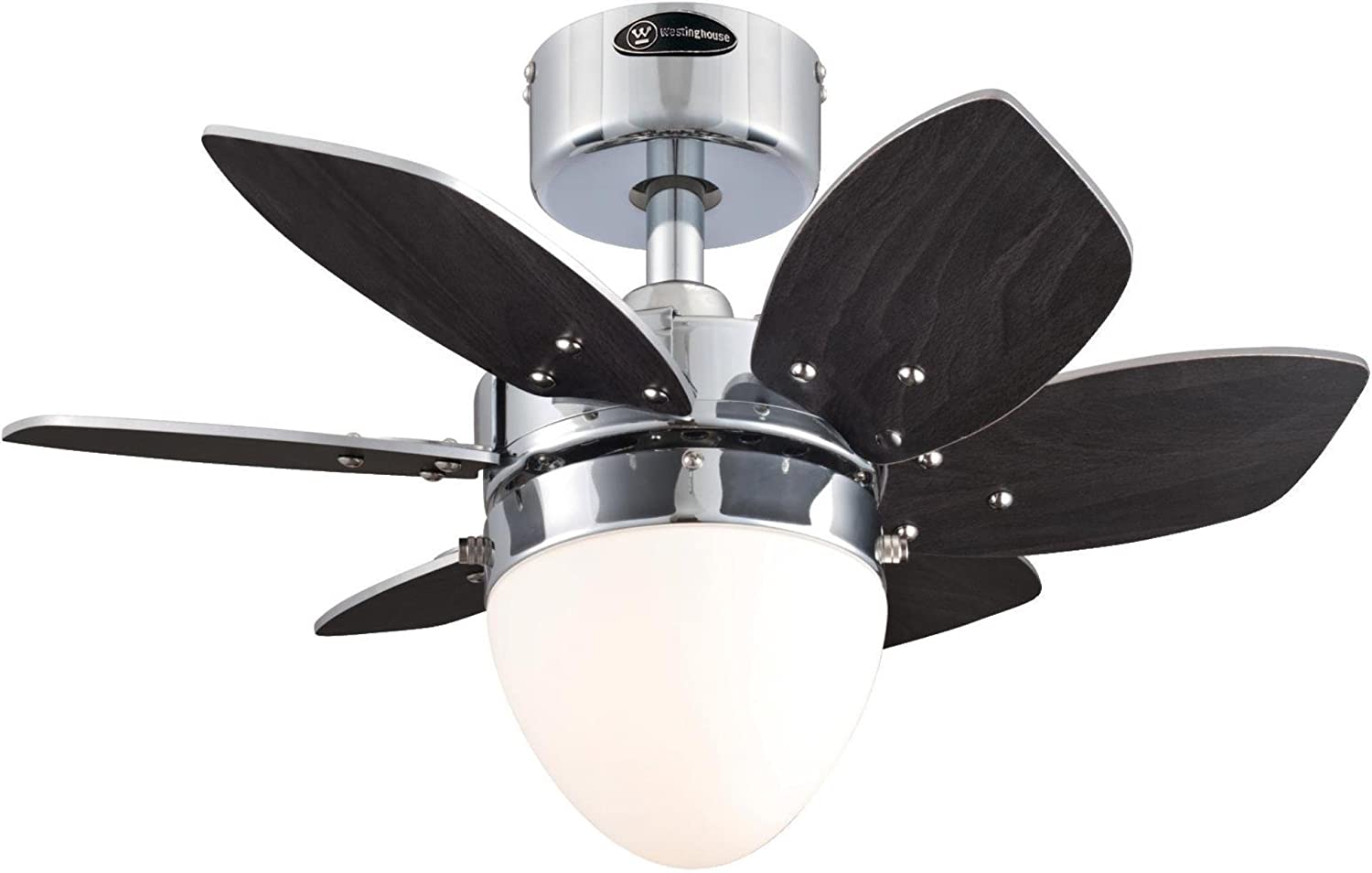 Westinghouse Lighting 7864400 Origami Single-Light 24-Inch Reversible Six-Blade Indoor Ceiling Fan, Chrome with Opal Frosted Glass