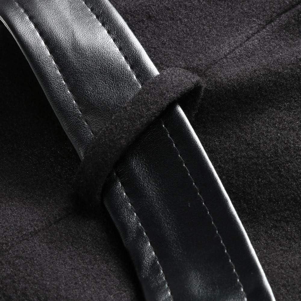 Frashing Ledermantel Winter Outwear Hooded Zipper Mantel Damen Warm Slim Fit Patchwork Leder Jacke Trenchcoat Wintermantel Übergangs Jacke Parka Lang Schwarz