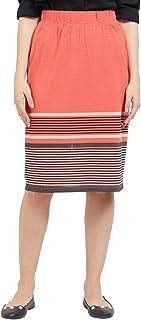 109 F Women Blended Coral Stripe Skirt