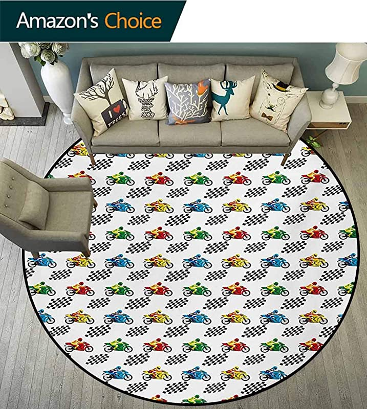 Motorcycle Art Deco Pattern Non Slip Round Area Rug Sports Bike With Racing Riders Among Black And White Chequered Flags Competition Foam Mat Bedroom Decor Bedroom Diameter 47 Inch