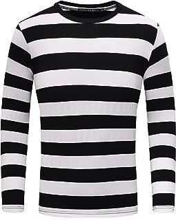 Men's Long Sleeve Striped T-Shirt Basic Crew Neck Shirts