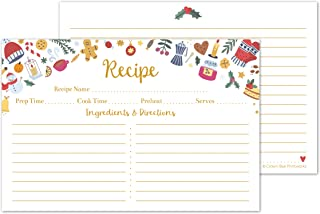 Hello Winter Christmas and Holiday Recipe Cards 4x6 Double Sided - Set of 50 Recipe Cards - For Christmas, Holiday, Gifts