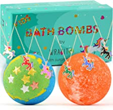Bath Bomb with surprise necklace for girls, Best Birthday Gift Idea, Vegan, Handmade, Gender Neutral with Organic Essential Oils, 2 x 5.0 oz