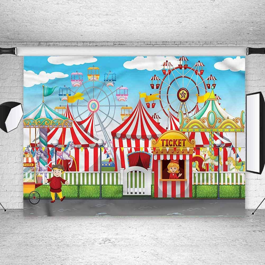8x8FT Vinyl Backdrop Photographer,Circus,Carnival Many Rides Background for Baby Birthday Party Wedding Studio Props Photography