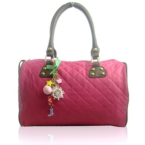 5bb31d431e07 Xardi London Medium Women Designer Quilted Boutique Barrel Shaped Handbag  Faux Leather Ladies top Handle Bag