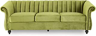 Olga Modern Glam Velvet 3 Seater Sofa, Sage and Dark Brown