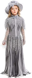 FANTASYY Women's Girls Ghost Bride Costume Dress Halloween Cosplay Vampire Gothic Skull Cemetery Ghostly Outfit