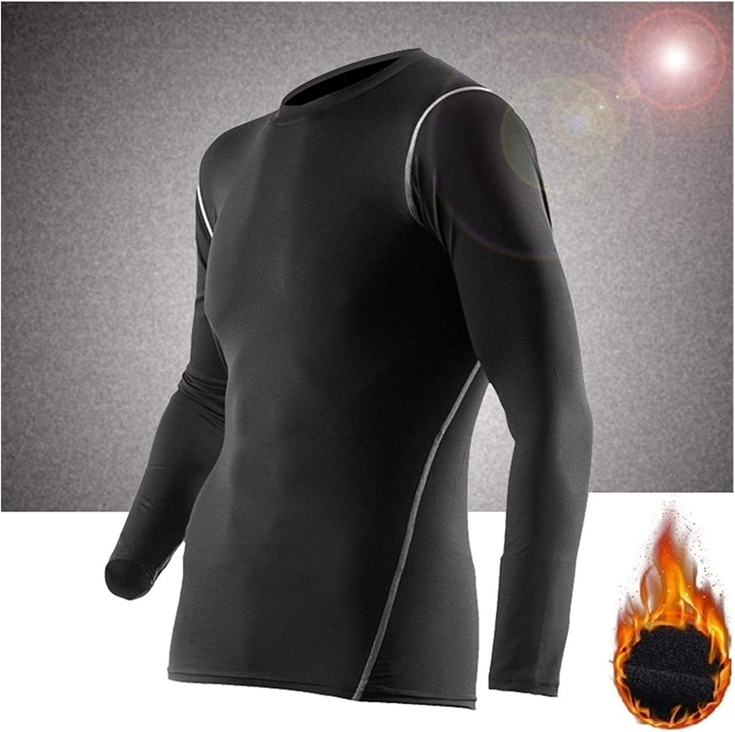 QWERBAM Winter Thermal Underwear for Men Keep Warm Fitness Flecce Legging and Undershirts (Color : A1 Shirt, Size : Medium)