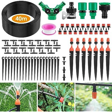 Ehomfy Kit per Irrigazione a Goccia, 40M Sistema Irrigazione del Giardino, Drip Irrigation Kit di Microirrigazione Automatici Regolabili, Adattto a Serra da Giardino, Aiuola, Patio, Prato