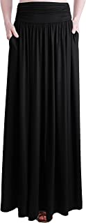 Women's Rayon Spandex High Waist Shirring Maxi Skirt with Pockets