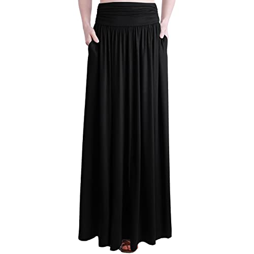 4429405131f1 TRENDY UNITED Women's Rayon Spandex High Waist Shirring Maxi Skirt with  Pockets