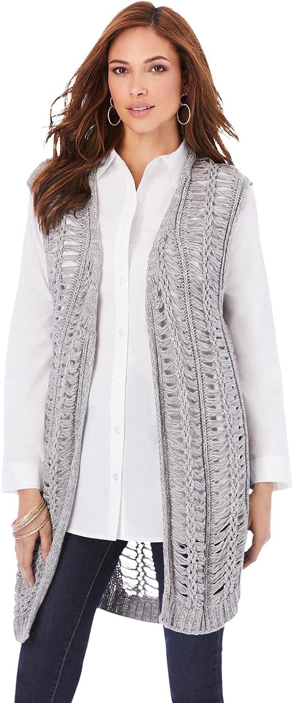 Roamans Women's Plus Size Crochet Sweater Vest