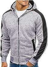 Alueeu Men's Jacket Hoodie Autumn Patchwork Zipper Hooded Sweatshirt Outwear Tops Blouse