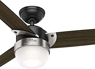 Hunter Fan 48 inch Modern Matte Black Indoor Ceiling Fan with Light Kit and Remote Control (Renewed)