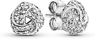 Jewelry - Shimmering Knot Stud Earrings for Women in PANDORA Rose and Sterling Silver with Clear Cubic Zirconia