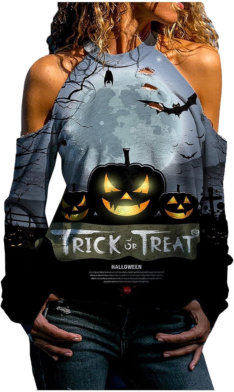 Womens Fall Clothes Halloween Off Shoulder Sweatshirts Pumpkin Skull Long Sleeve Halter Neck Tops Loose Tunic Blouses