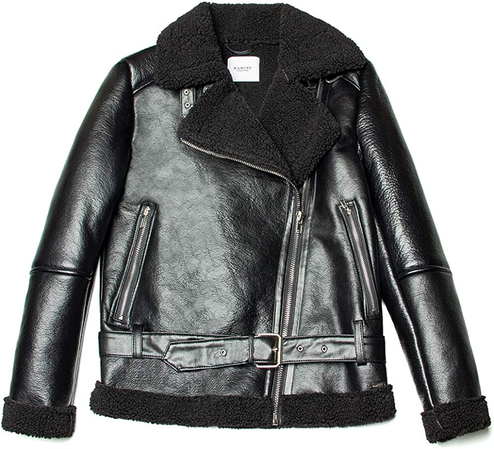 RAMISU Women Outerwear Faux Leather Jacket Lined in Thick Faux Fur Winter Coat Street Casual Moto Style