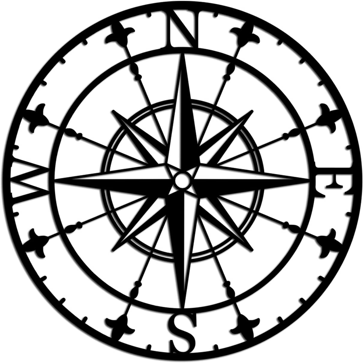 Nautical Metal Wall Decor Compass Wall Hanging Art for Nature Home Indoor Outdoor Decorations 24